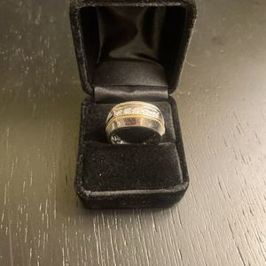 Macy's Men Diamond Two-tone Ring In Sterlong Silver And 14k Golf Plated for Sale in Woodhaven, MI