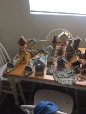 Wooden and ceramic bird houses and birds for Sale in Cheyenne, WY