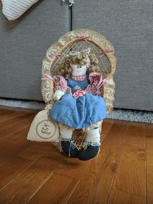 Antique Dolly on Wicker Chair for Sale in Harrisonburg, VA