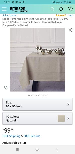 Solino Home Medium Weight Pure Linen Tablecloth – 70 x 90 Inch, 100% Linen Levo Table Cover – Handcrafted for Sale in Las Vegas, NV