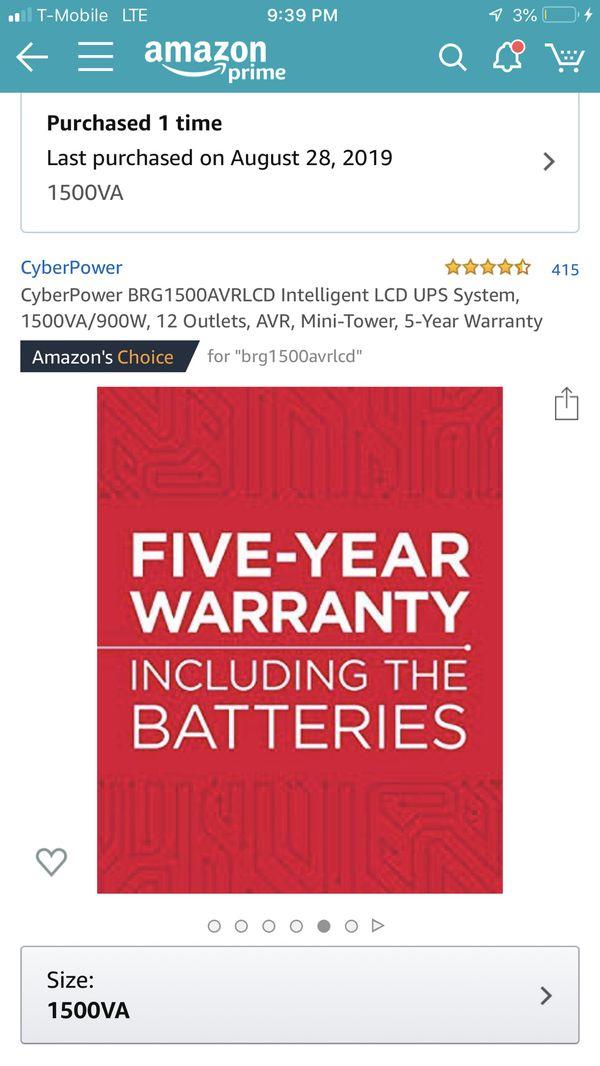Brand New in Box CyberPower BRG1500AVRLCD Intelligent LCD UPS System
