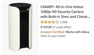 CANARY - ALL IN ONE INDOOR 1080p HD HOME SECURITY CAMERA W/BUILT IN 90 + DB SIREN, CLIMATE CONTROL, MOTION DETECTOR AND MOBILE ALERTS for Sale in Fontana, CA
