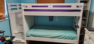 Wood BUNK BEDS white with Stairs /Drawers for Sale in Miami, FL