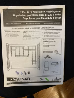Closet maid organizer 7-10 feet for Sale in Mountlake Terrace, WA