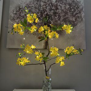 Silk Flowers Glass Vase LED lights - Cay Mai Vang Tet Vietnam for Sale in Herndon, VA