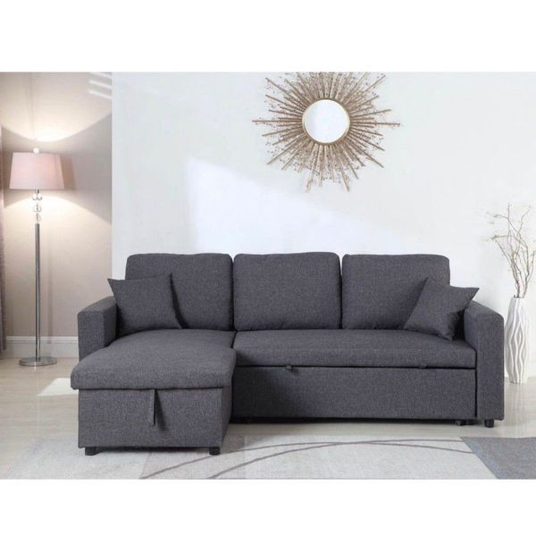 Grey Linen Sectional Sofa W/ Storage Ottoman