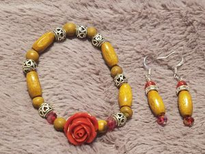 Red rose , wood and bling bracelet and earring set for Sale in Philadelphia, PA