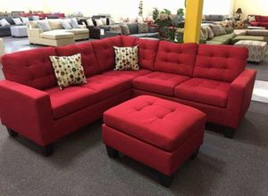 Brand New Red Linen Sectional Sofa Couch + Ottoman for Sale in Kensington, MD