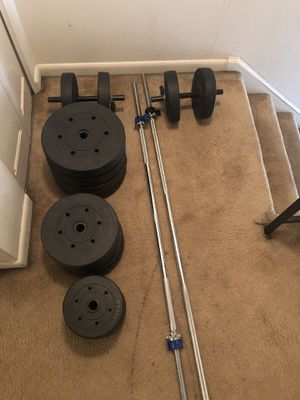 Brand new weights! With dumbbells! 2 standard bars! for Sale in Manchester, CT