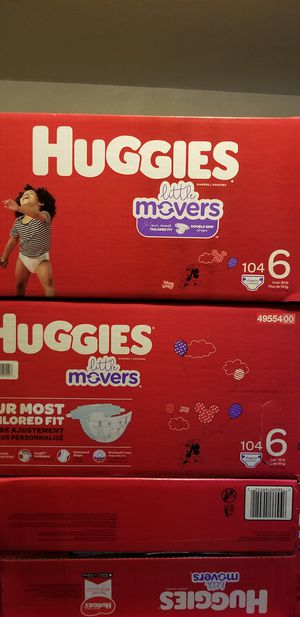 Huggies little movers size 6 104 daipers $37 each box firm price for Sale in Los Angeles, CA