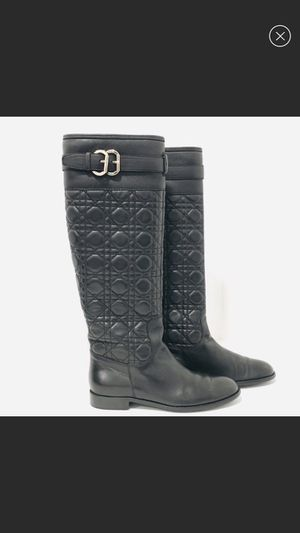 Christian Dior Quilted Black Leather Riding Boots Flat 37.5 for Sale in Stanton, CA