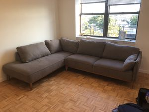 Grey 2-Piece Sectional with Chaise (Macy's Jollene Sectional) for Sale in New York, NY