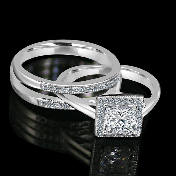 1CT. intensely Radiant Diamond Veneer Princess Cut w/Halo housed in a Double band jacket Simulated Engagement/Wedding Ring. 635R4012