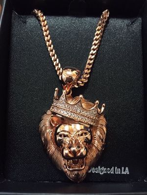 Iced Out 14k Rose Gold Lion Chain Authentic ! for Sale in Detroit, MI