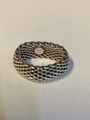 Authentic Tiffany & Co. 925 Sterling Silver Somerset Mesh Ring for Sale in Oviedo, FL