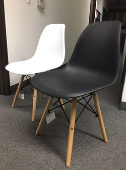 Brand new $25 each century modern leisure dining chair wood legs black dark brown gray tan white colors available for Sale in Whittier,  CA