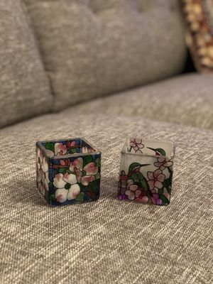 Stained glass floral cube candle holders; Made in Japan for Sale in Seattle, WA