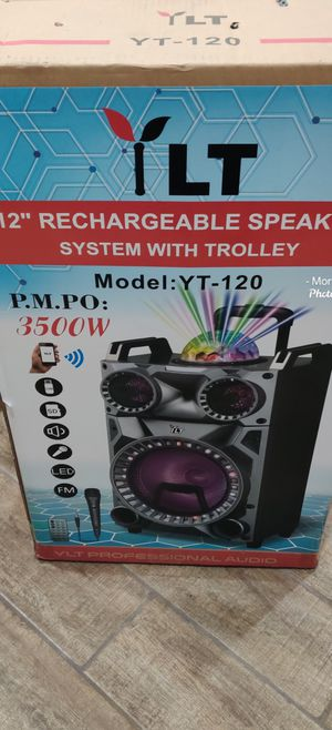 12 INCH RECHARGEABLE SPEAKER SYSTEM WITH TROLLEY NEW for Sale in Orange, CA