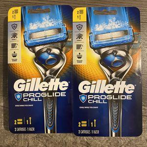 Gillette proglide chill razor w/2 cartridges $9 each for Sale in San Bernardino, CA