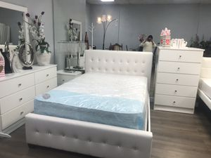 Brand new full or queen diamond leather 5 pcs bedroom set no mattress for Sale in Miami Springs, FL