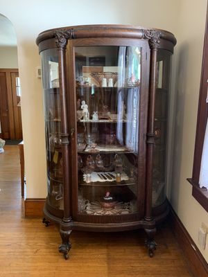 1920's China cabinet w/ pink depression glass $$ for Sale in Berwick, PA