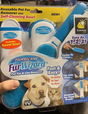 NEW As Seen On TV Hurricane Fur Wizard Hair Remove Clothing Lint Fur Remover Dog Cat Pet Hair for Sale in Whittier, CA