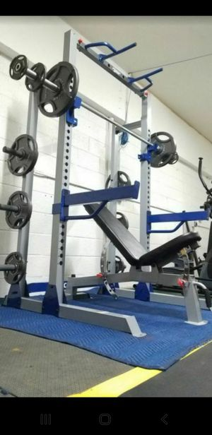 ( EXERCISE FITNESS 365 ) COMPLETE OLYMPIC WEIGHT SET. SQUAT RACK /BENCH PRESS, ADJUSTABLE BENCH, OLYMPIC BARBELL, FULL SET OF WEIGHTS for Sale in Bellflower, CA
