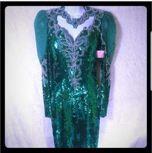 Vintage LANDA Long Green Sequined/Beaded 100% Silk Dress Size 8 for Sale in Atlanta, GA