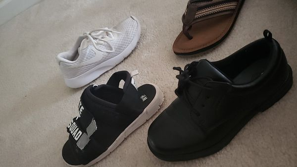 5 pairs of boys shoes black dress shoes size 13 white nikes 13.5 2 sandals 13 black and gray sneakers 13