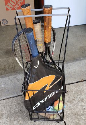 Tennis rackets and ball cage collector for Sale in Zanesville, OH