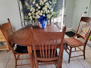 Antique drop leaf wood dining table and chairs for Sale in Wheat Ridge, CO