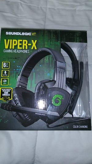 Viper X gaming headphones brand new in the box 6 1/2 foot cord built-in mic LED lights includes converter for gaming consoles for Sale in Pembroke Pines, FL