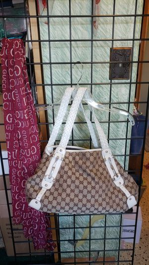Gucci Classic Canvas Bag with Braided Leather And red scarf for Sale in Everett, WA