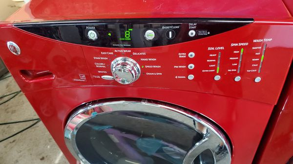 GE front load washer and dryer red