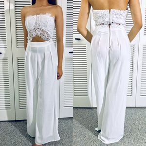 White Crochet Cut Out Jumpsuit Maxi Dress One Piece for Wedding or Wedding Guest dress or Date Night or Party for Sale in Tampa, FL