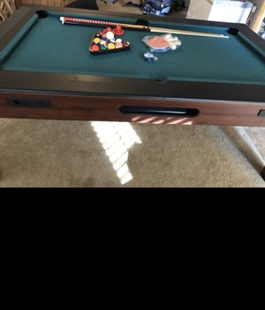 Sortscraft 3 in 1 table with air hockey, pool, and ping pong. Comes with 2 pool sticks and balls, 4 ping pong paddles, 2 hockey paddles and puck. for Sale in Mesa, AZ