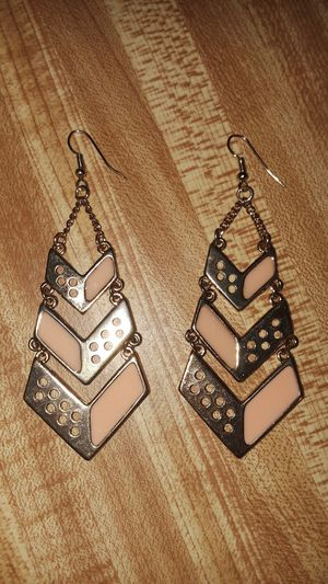 Gold Chevron earrings with blush accents for Sale in Los Angeles, CA