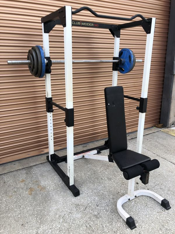 FullHeavy Duty Squat / Power Rack w/ Adjustable Bench, 265 Lb Olympic Weight Set Complete Home Gym