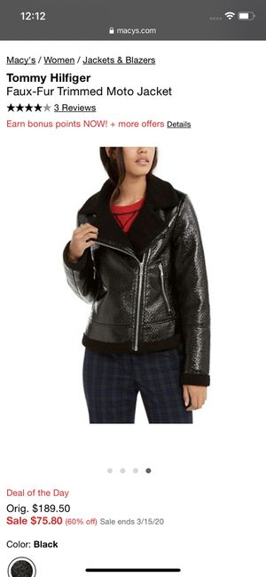 Faux Fur trimmed moto jacket for Sale in Oxon Hill, MD