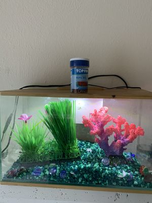 3 gallon glass aquarium, filter , sand, light all included for Sale in Irving, TX