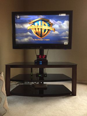 Glass and oak tv stand for Sale in Peoria, IL