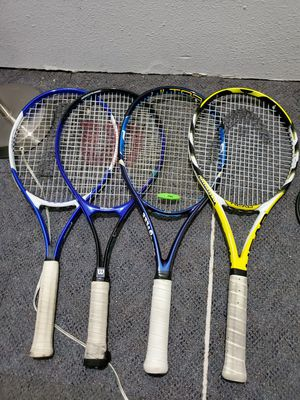 11 different new racket ball and tennis rackets. Top of the line and in perfect shape. Come with there own bags. You pick or buy all for Sale in Everett, WA