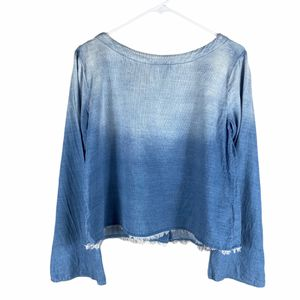 Cloth & Stone Blue Ombre bell sleeve raw hem top size small for Sale in Lacey, WA