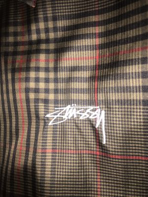 Stussy embroidered logo Burberry wind breaker jacket size Large for Sale in South Gate, CA
