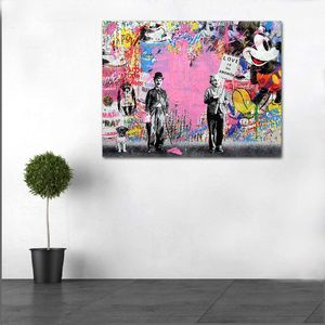 Chaplin & Einstein Pink Canvas Painting Wall Art Print Poster Modern Home Dining Bedroom Office Lobby Hallway Decor Gift Abstract Ready To Hang for Sale in Queens, NY