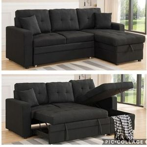Black Sectional Sofa Pullout Bed With Storage Chaise for Sale in Long Beach, CA