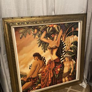 Large Canvas With antique Wooden Frame for Sale in Phoenix, AZ