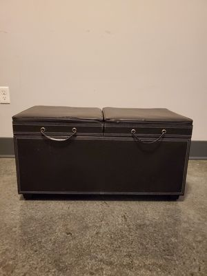 Black Faux Leather Storage Ottoman for Sale in Nashville, TN