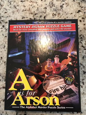 A is for Arson Mystery Jigsaw Puzzle by TDC Games for Sale in Bellevue, WA