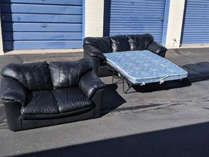 Two Piece Leather Sleeper sofa Set Delivery available for Sale in Mesa, AZ